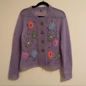 RARE Anthropologie Mohair Embroidered Cardigan